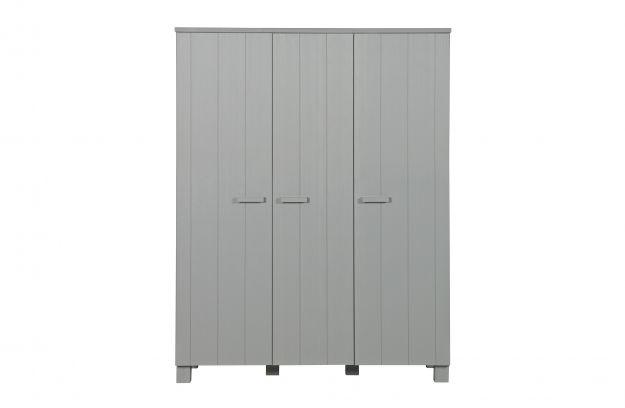 Dennis 3 Doors Wardrobe Pine Concrete Grey Brushed Fsc