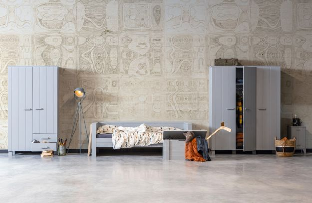Woood Kast Dennis : Dennis doors wardrobe pine concrete grey brushed fsc storage