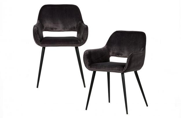 Set v 2 - jelle stoel met uitsparing velvet grijs | Stoelen ...