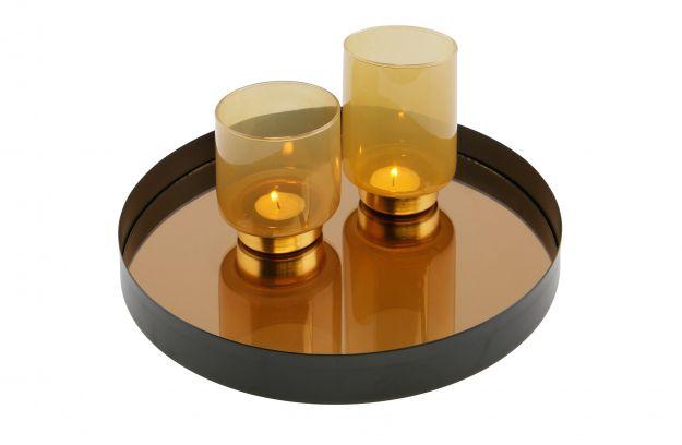 Spiegel Zwart Metaal : Jay dienblad met spiegel metaal zwart Ø cm accessoires deco