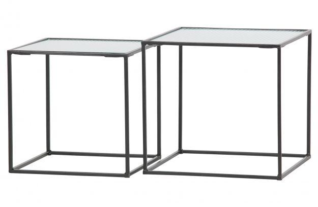 Bijzettafel Glas En Metaal.Set V 2 Miles Bijzettafels Metaal Glas Zwart Tafels Woonkamer