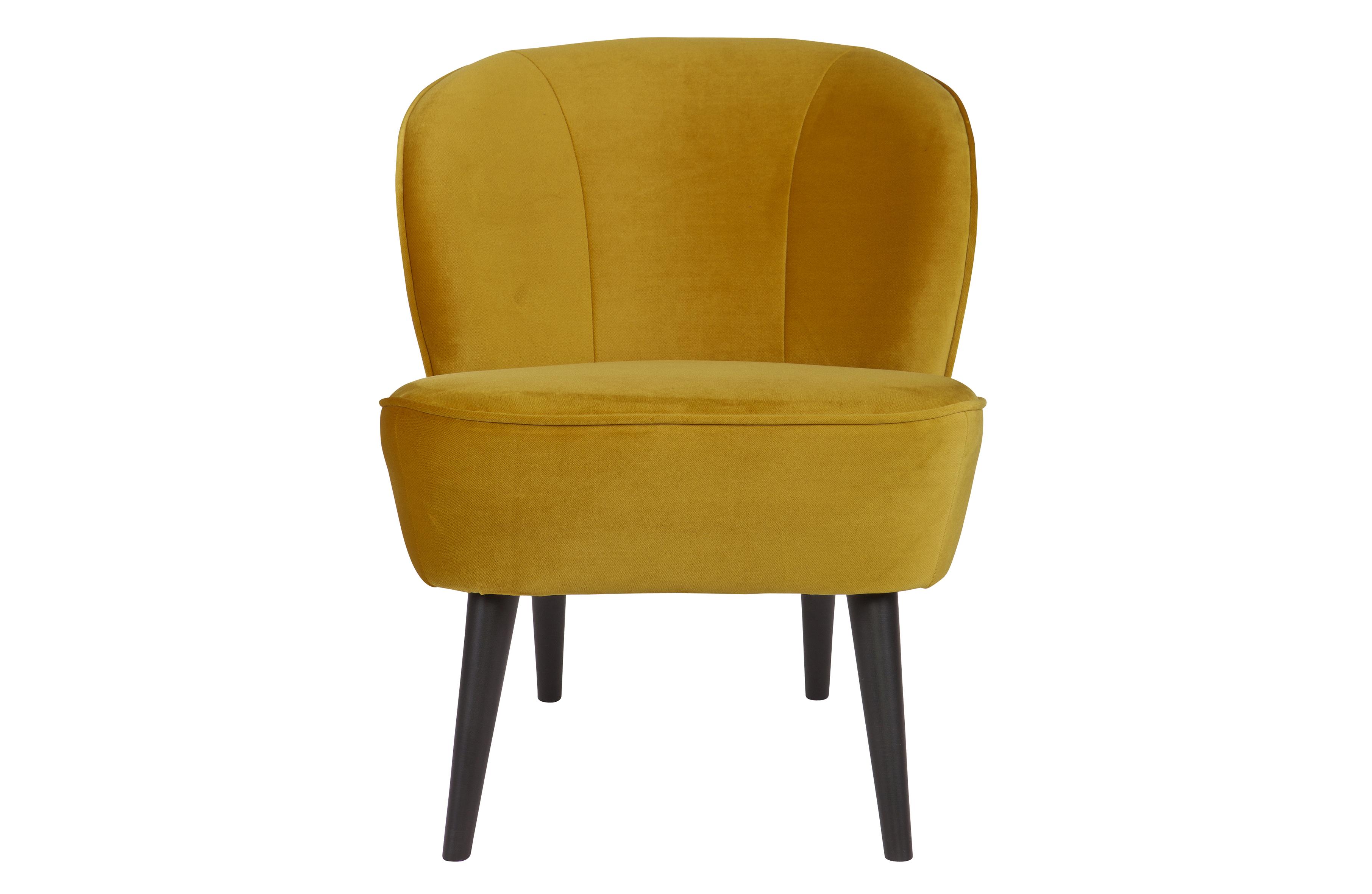 Sara fauteuil fluweel oker banken woonkamer woood
