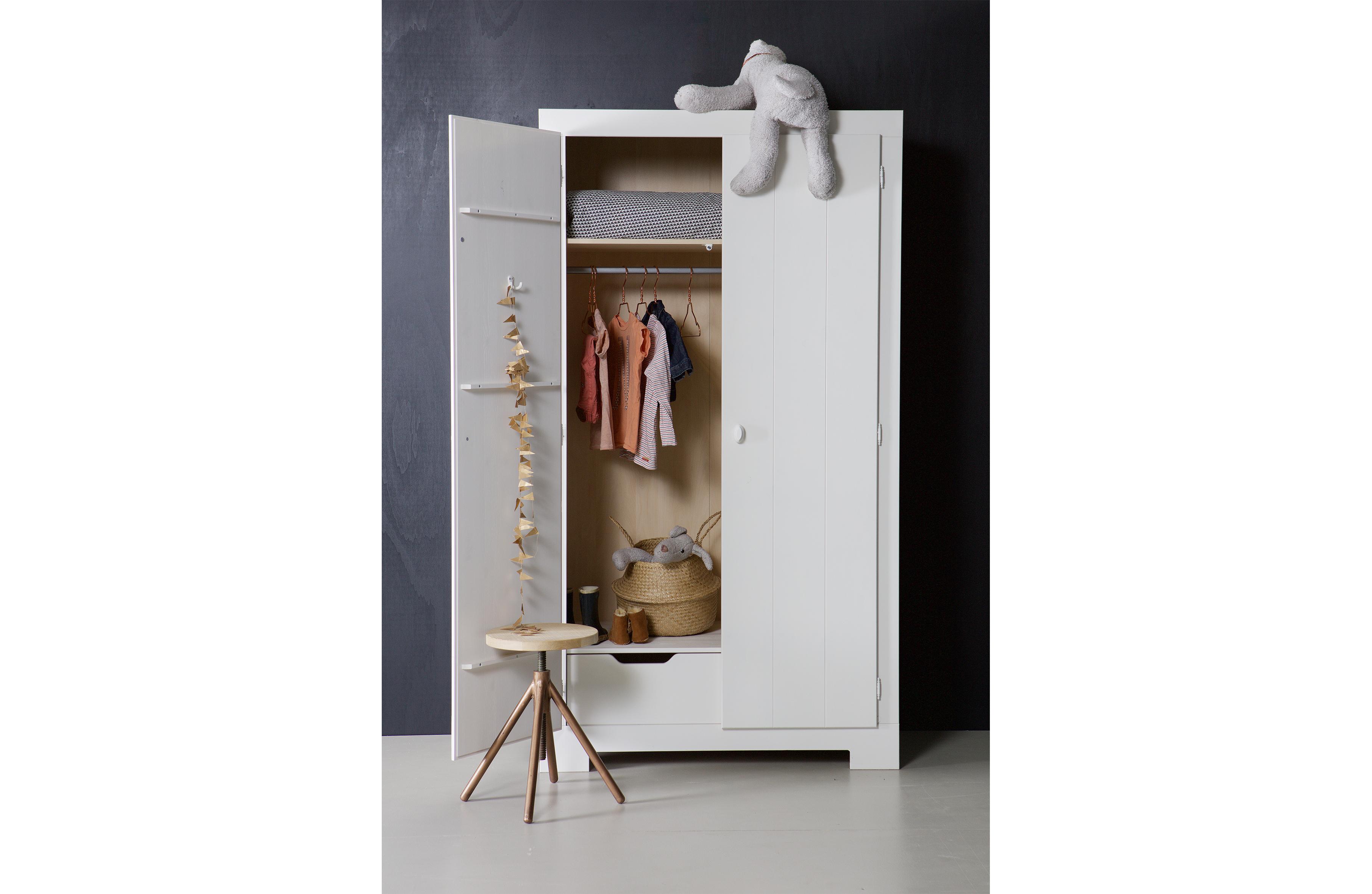 Nikki Wardrobe Pine White Fsc Storage Kids Woood