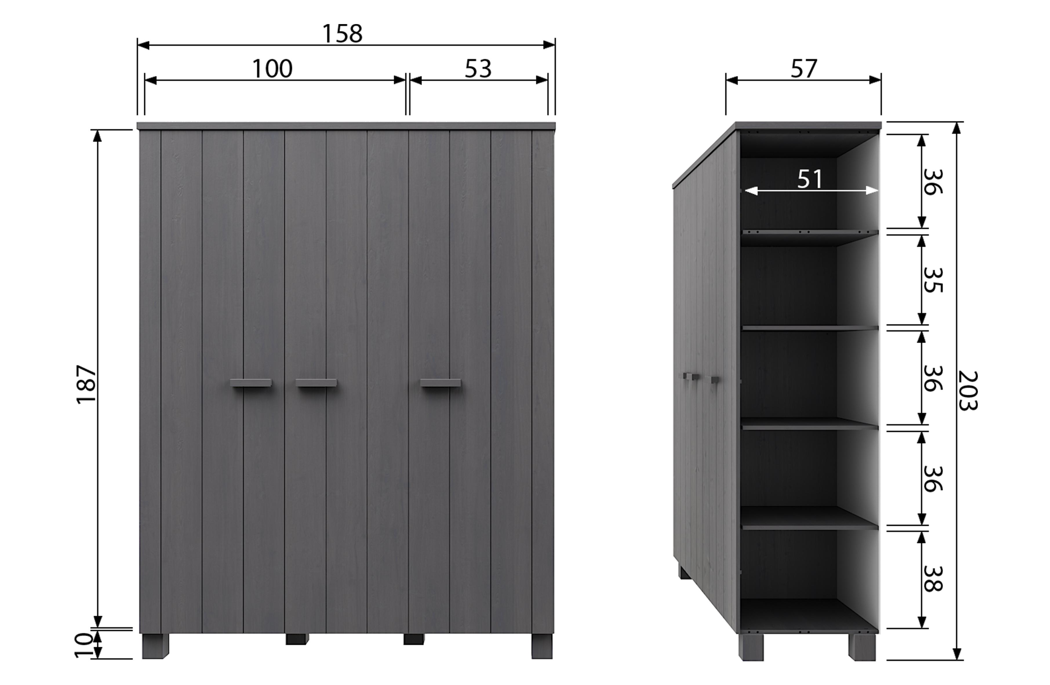 Dennis 3 Doors Wardrobe Steelgrey Fsc Storage Kids Woood