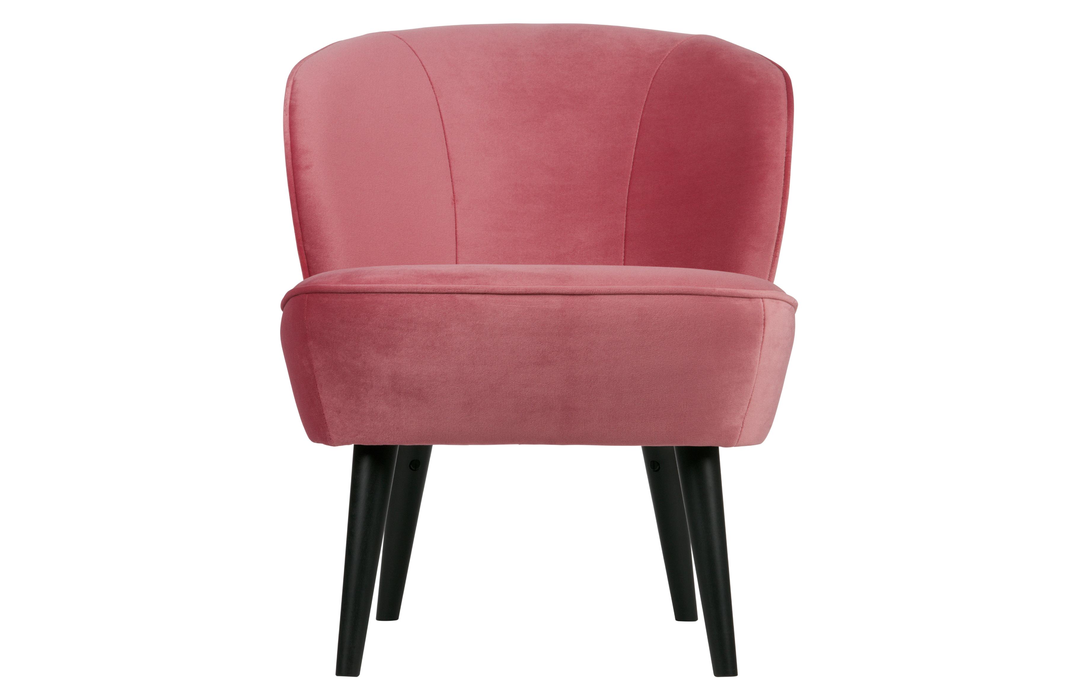 Sara fauteuil fluweel roze banken woonkamer woood