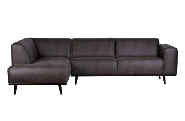 Statement Corner Sofa Left Eco Leather Grey Sofas Living Bepurehome