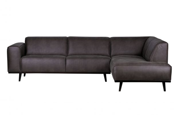 Statement Corner Sofa Right Eco Leather Grey Sofas Living Bepurehome