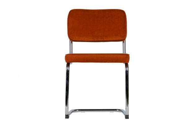 Set of 2 - lien chair with metal frame velvet rust | Chairs | Dining ...