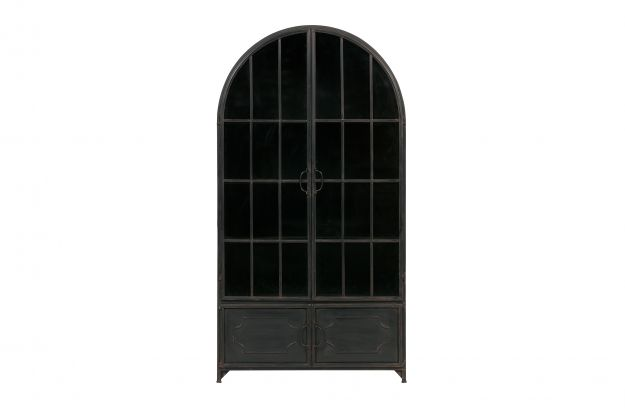 Kast Woonkamer Zwart : Arcade kast met ronde bovenkant metaal zwart opbergen woonkamer