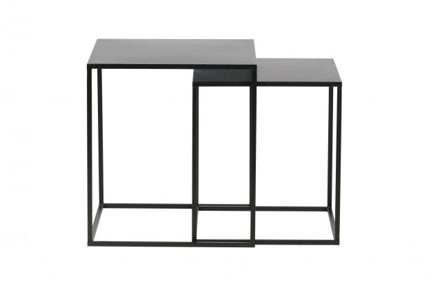 Pleasing Set Of 2 Ziva Coffee Table Metal Black Tables Living Caraccident5 Cool Chair Designs And Ideas Caraccident5Info
