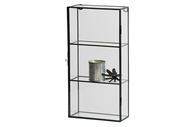 charlie vitrine schrank mit zwei regals metall glas schwarz accessoires dekoration woood. Black Bedroom Furniture Sets. Home Design Ideas