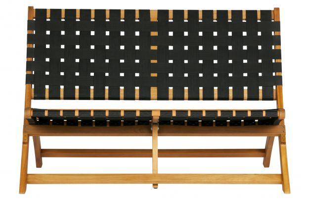 Fantastic Lois Black Woven Lounge Bench Wood Natural Sofas Creativecarmelina Interior Chair Design Creativecarmelinacom